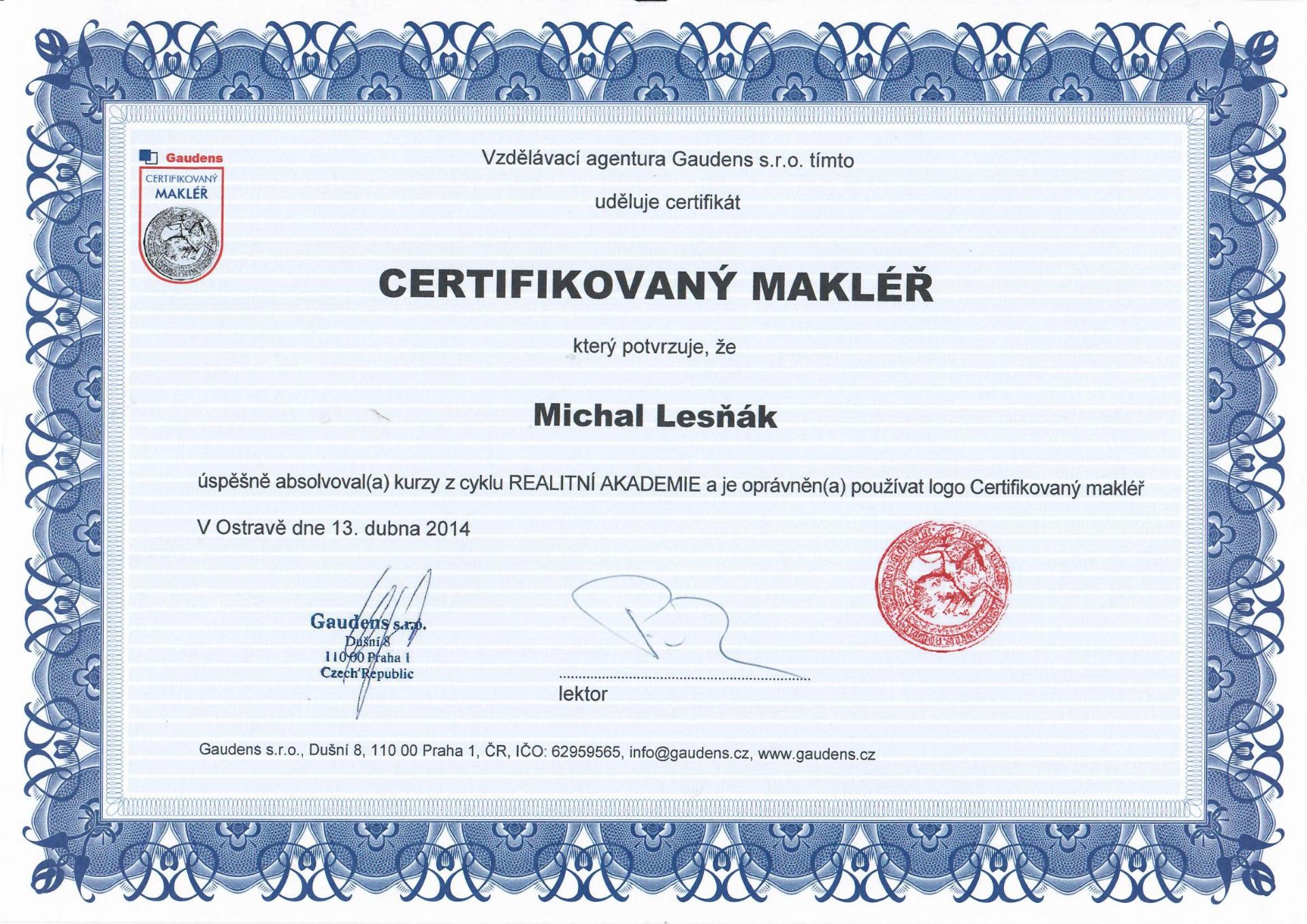 certifikovaný makléř Michal Lesňák