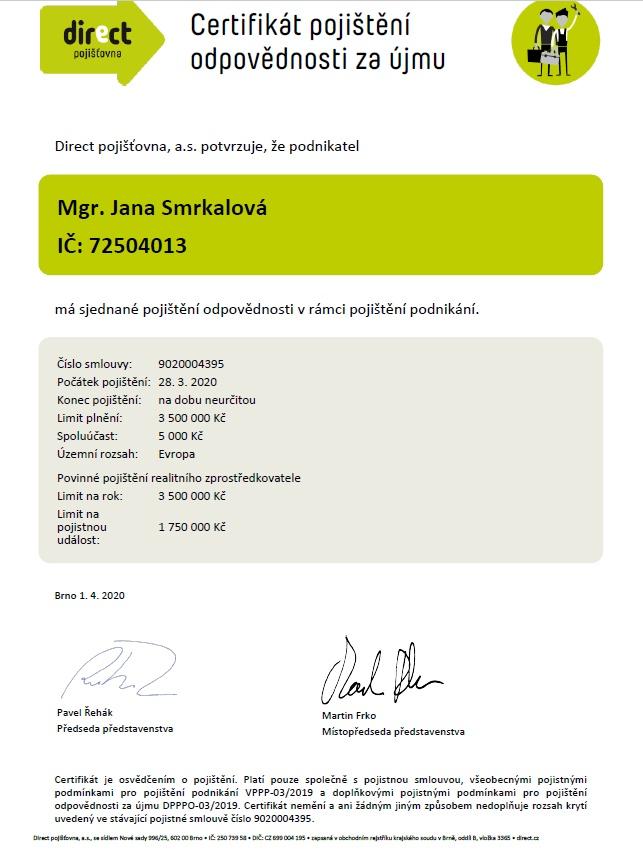 certifikát smrkalová