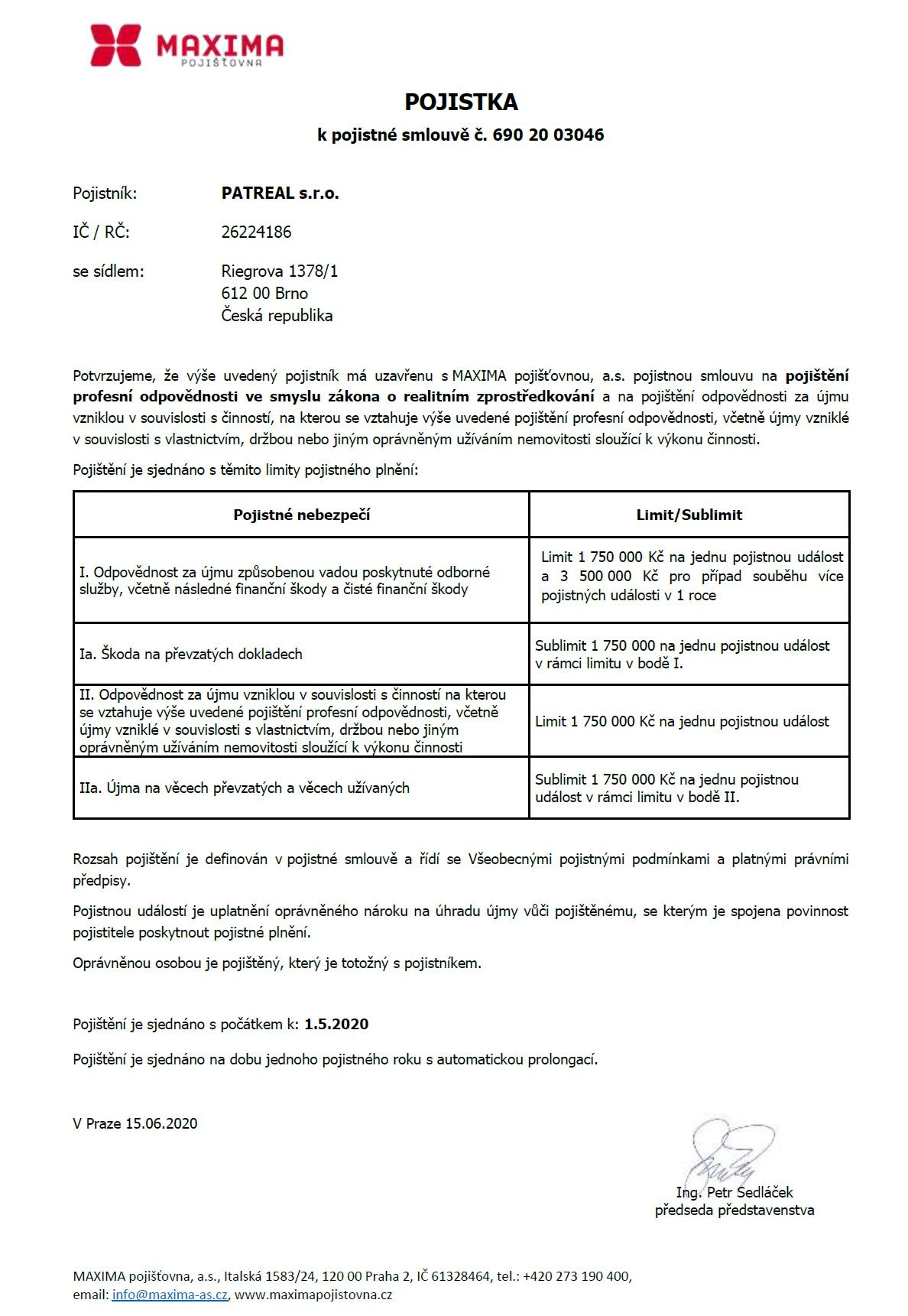 certifikát_patreal