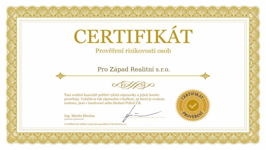 Certifikát prověření nájemníka