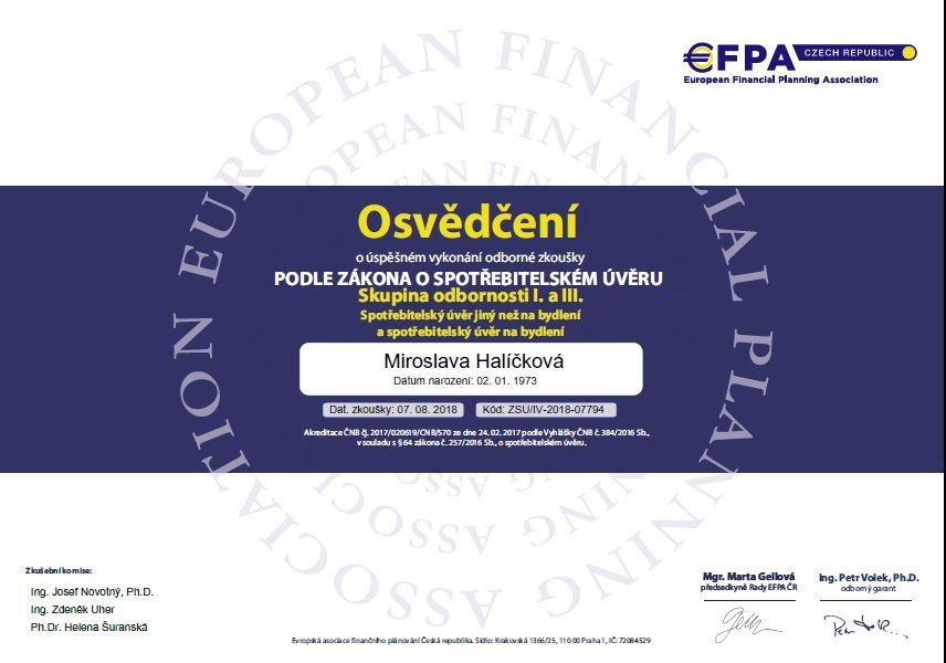 Mirka Halíčková certifikát hypotéky a úvěry