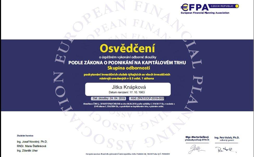 Jitka Knápková certifikát investice